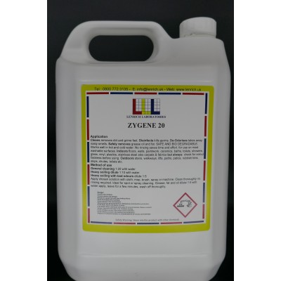 ZYGENE 20 - Bactericidal Anti-static hard surface cleaner 2 x 5 Litres @ £14.97 each